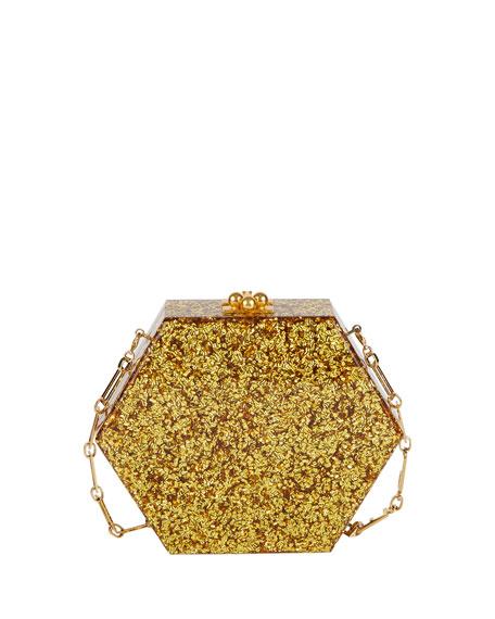Macy Flames Hexagonal Clutch Bag, Gold