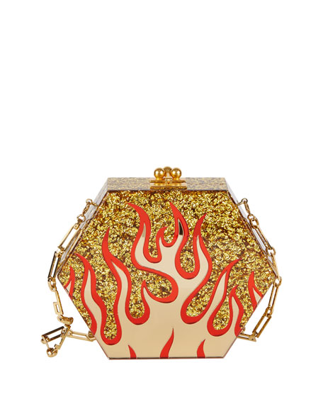 Edie Parker Macy Flames Hexagonal Clutch Bag, Gold