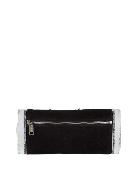 Soft Lara Heart Pin Clutch Bag, Black