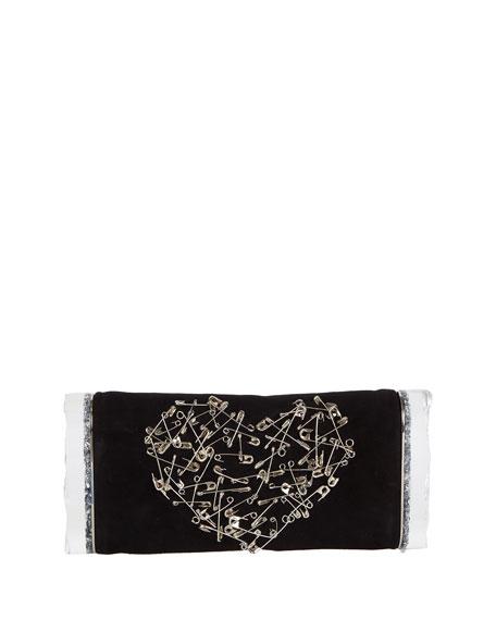 Edie Parker Soft Lara Heart Pin Clutch Bag,