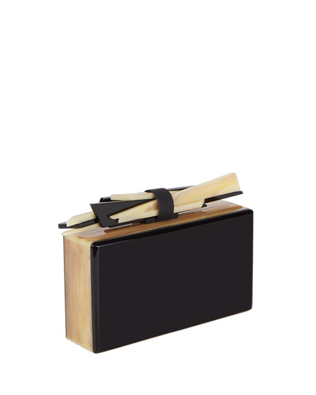 Wolf Acrylic Box Clutch Bag, Black