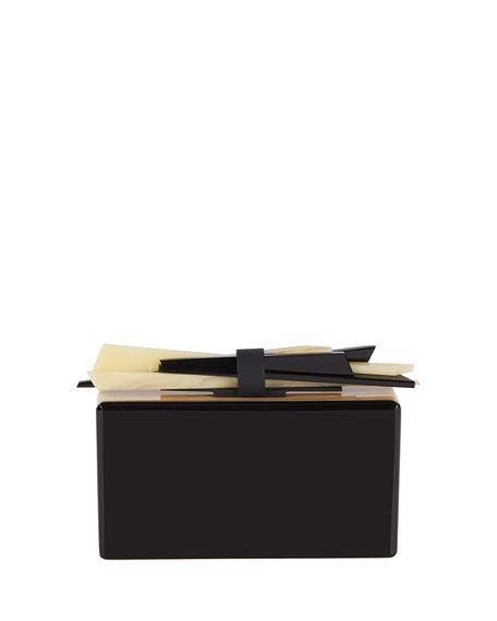 Wolf Acrylic Box Clutch Bag, Black