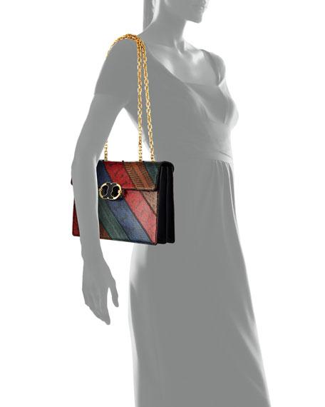 Gemini Link Snakeskin Chain Shoulder Bag