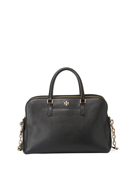 Georgia Double Zip Pebbled Leather Satchel - Black
