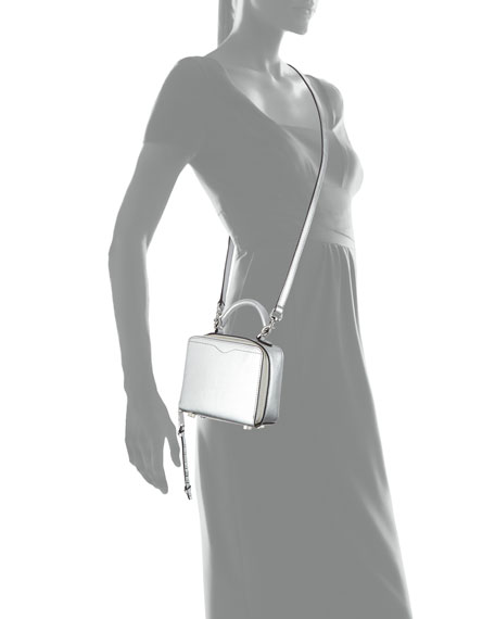 Metallic Leather Box Crossbody Bag