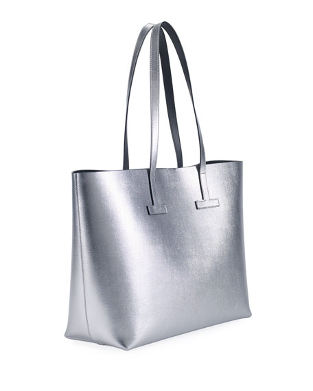 Small T Saffiano Tote Bag, Silver