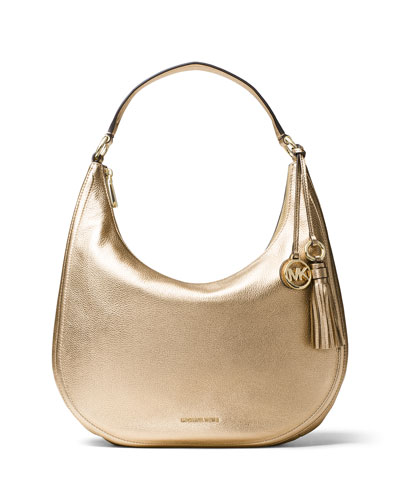 Lydia Large Metallic Leather Hobo Bag