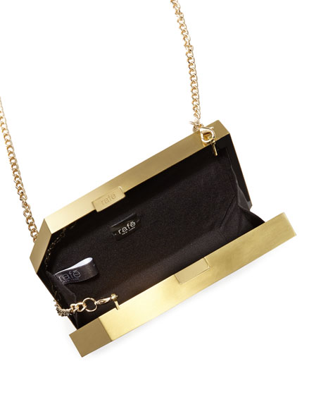 Pia Geometric Shell Minaudiere, Black/Gold
