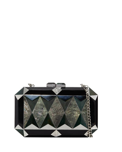 Sara Faceted Shell Minaudiere, Black/Multi