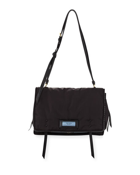 Etiquette Large Nylon Flap Crossbody Bag, Black