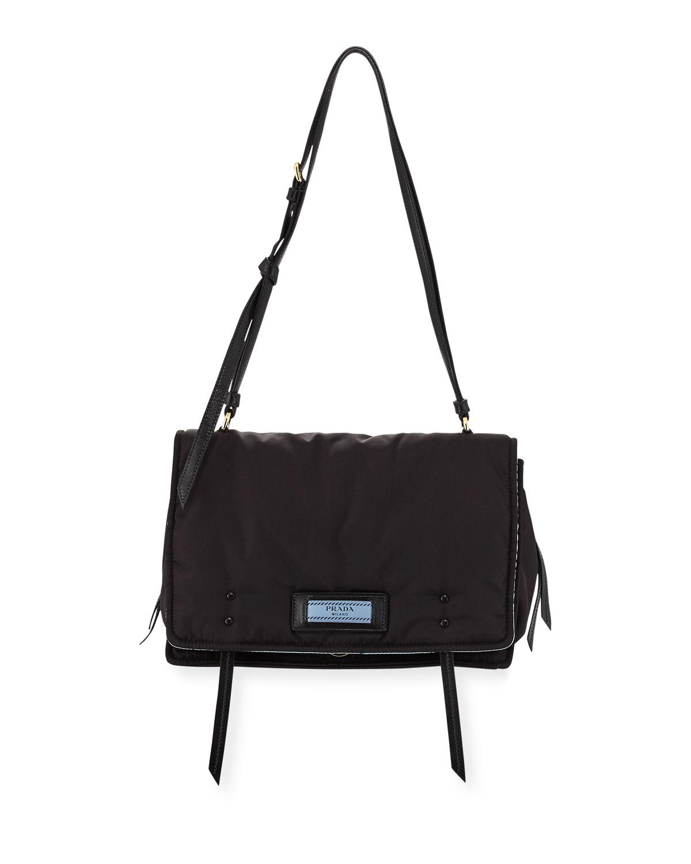 Prada Etiquette Large Nylon Flap Crossbody Bag   Neiman Marcus b5627e0c6c