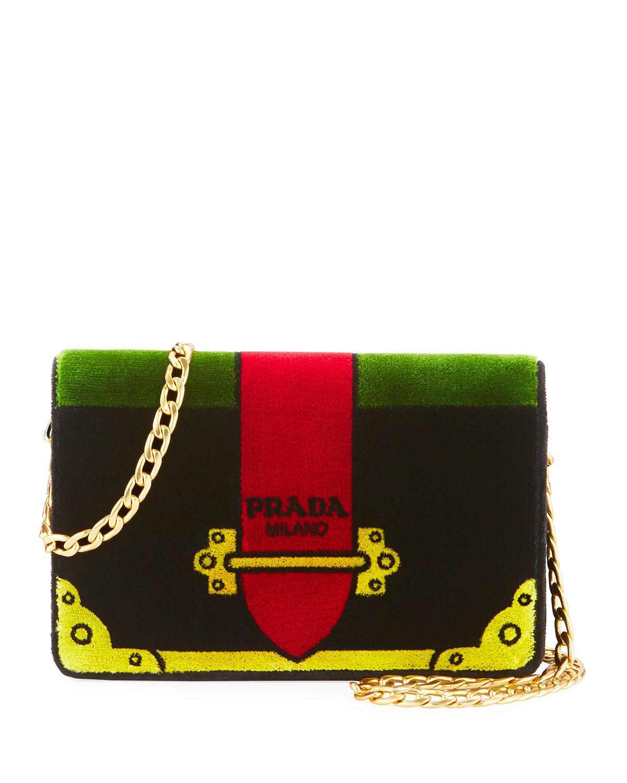 69a7a9d5bb5b Prada Trompe L oeil Velvet Cahier Chain Shoulder Bag