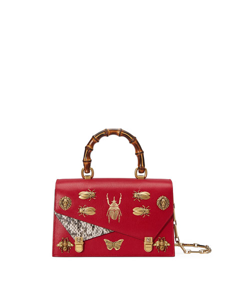 Gucci Linea Small Insect Display Bamboo Top-Handle Bag