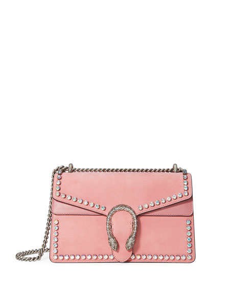 Dionysus Small Suede Shoulder Bag with Crystals