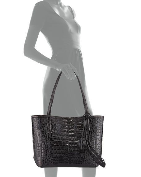 Erica Small Crocodile Leaf Tote Bag