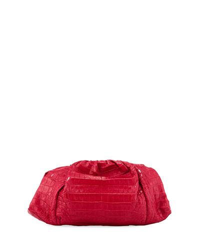 Ruched Crocodile Clutch Bag