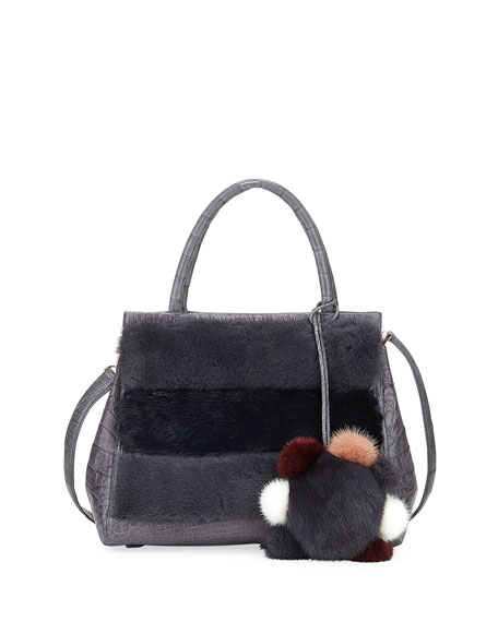 Daisy Striped Mink Fur & Crocodile Tote Bag
