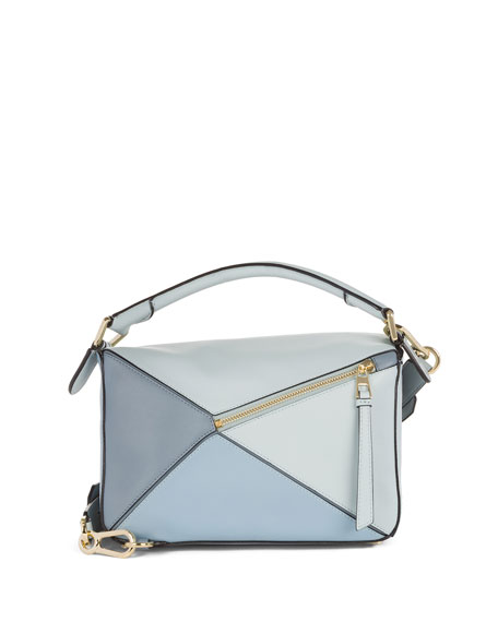 Small Puzzle Colorblock Leather Satchel Bag