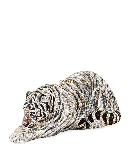 Judith Leiber Couture Byakko White Tiger Crystal Clutch