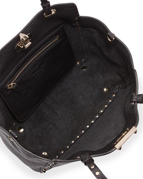 Rockstud Grain Small Tote Bag, Black