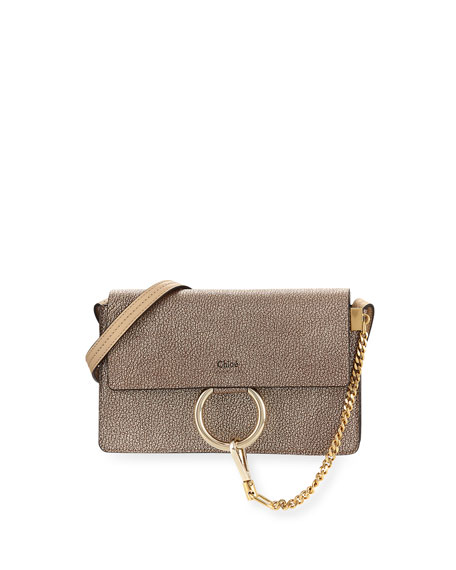 Chloe Faye Small Metallic Leather Shoulder Bag