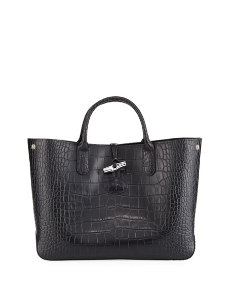 Longchamp Roseau Croco Medium Tote Bag