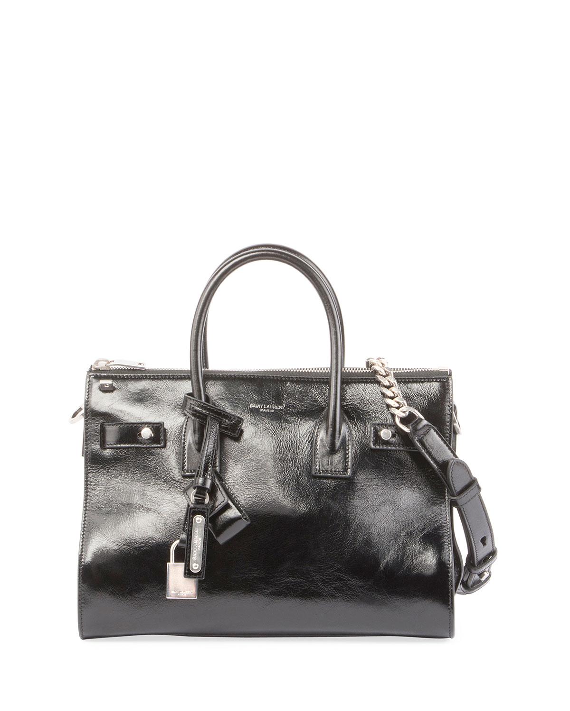 ad99e883d773 Saint Laurent Sac de Jour Baby Crinkled Leather Tote Bag