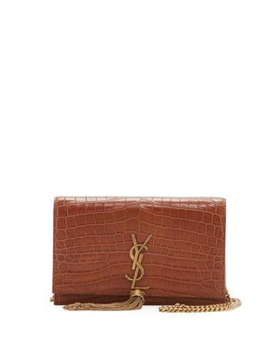 Kate Crocodile-Embossed Tassel Wallet on a Chain