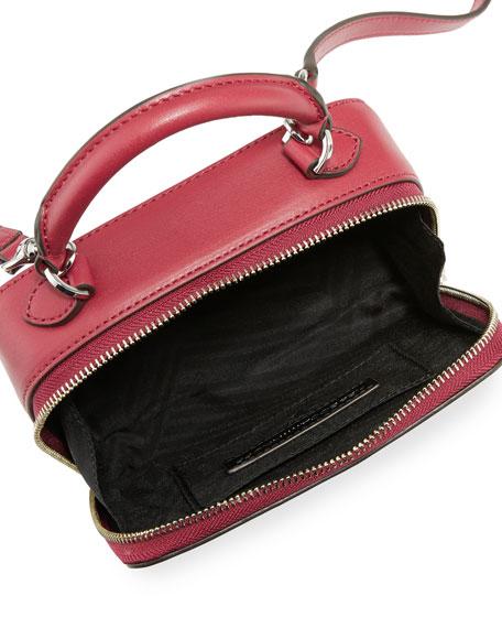 Leather Box Crossbody Bag, Dark Red