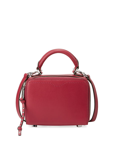 Rebecca Minkoff Leather Box Crossbody Bag, Dark Red