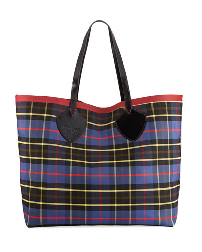 XL Reversible Check Tote Bag
