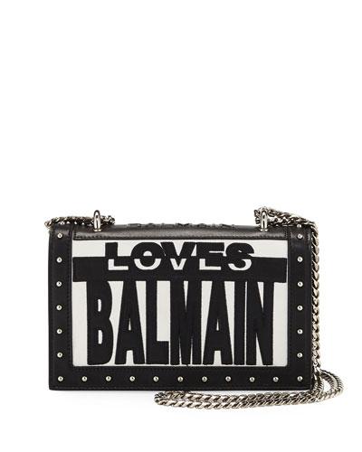 Love Balmain Flap Shoulder Bag, Black/White