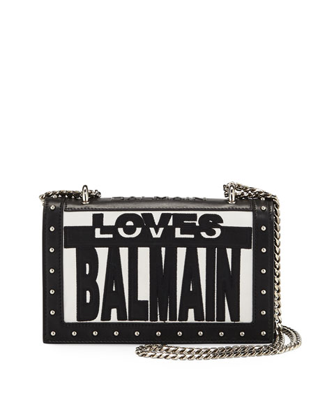 Love Balmain Flap Shoulder Bag, Black/White