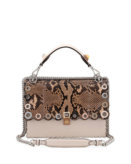Fendi Kan I Regular Python and Calf Shoulder