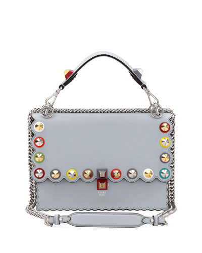 Fendi Kan I Regular Studded Leather Scalloped Shoulder Bag
