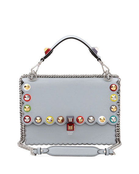 Kan I Regular Studded Leather Scalloped Shoulder Bag