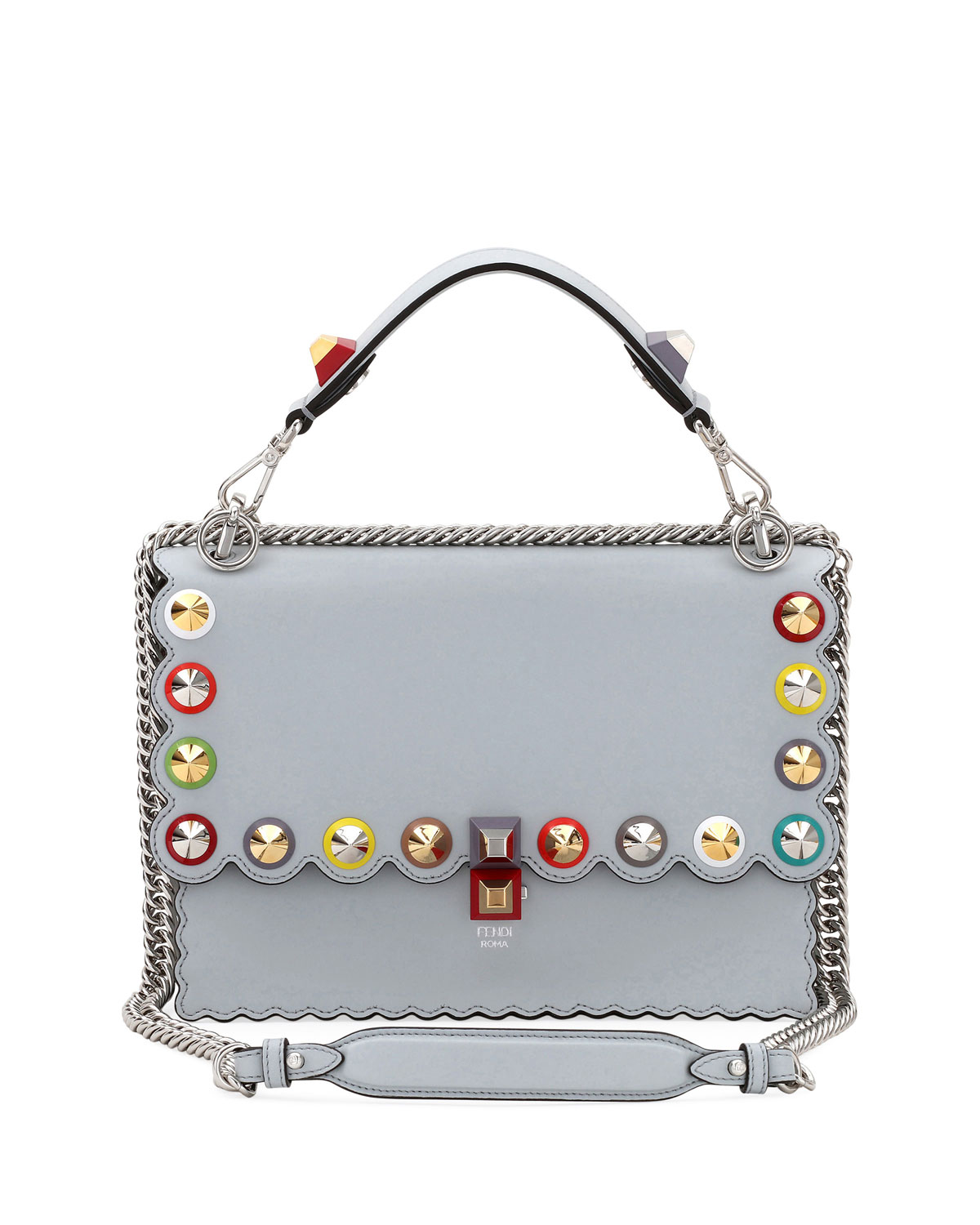 32a7f7ee243 Fendi Kan I Regular Studded Leather Scalloped Shoulder Bag | Neiman ...