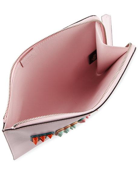 Polished Logo-Studded Flat Pouch Bag