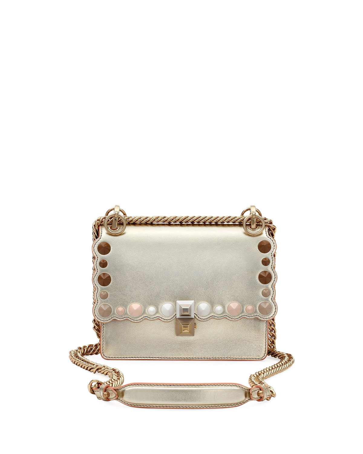 d222e20f4c5 Quick Look. Fendi · Kan I Mini Scalloped Studded Chain Shoulder Bag.  Available in Gray Metallic