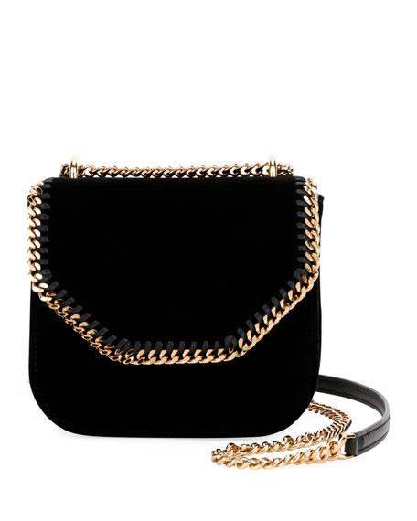 Mini Falabella Box Velvet Shoulder Bag - Black