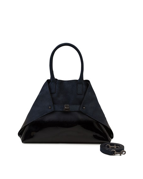Akris Ai Small Lacquered Nubuck Top-Handle Bag
