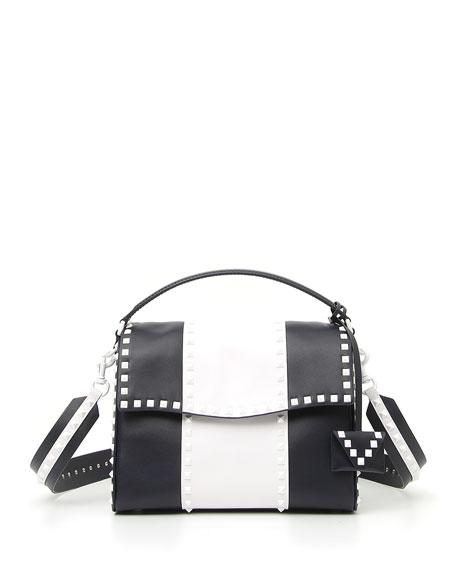 Free Rockstud Colorblock Leather Satchel Bag