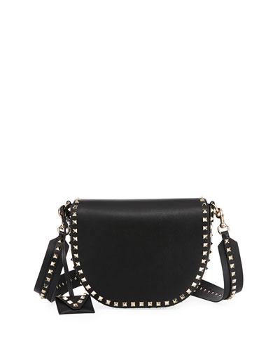 Rockstud Free Leather Saddle Bag