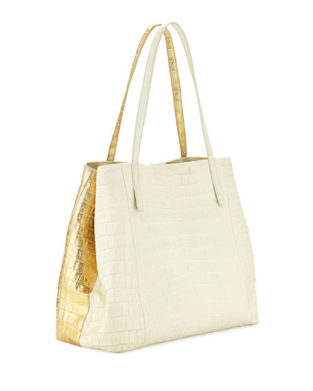 Large Metallic Crocodile Shoulder Tote Bag