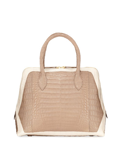 Medium Dome Two-Tone Crocodile Satchel Bag
