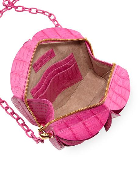 Rossette Circle Crocodile Crossbody Bag