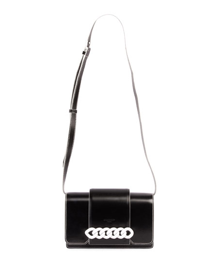Infinity Small Flap Crossbody Bag, Black/White