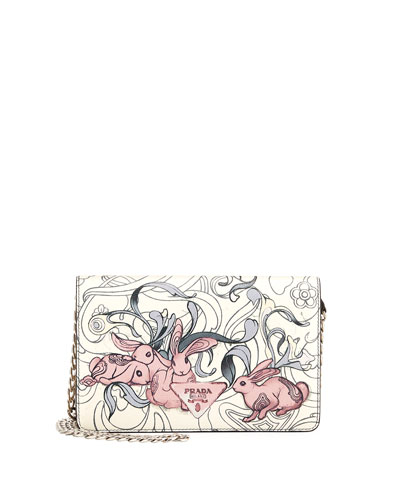 Prada Glace Rabbit-Print Small Crossbody Bag