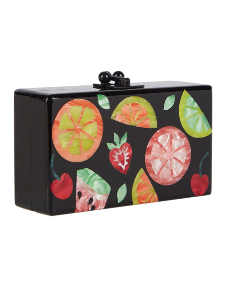 Edie Parker Jean Fruit Cocktail Frame Clutch Bag,