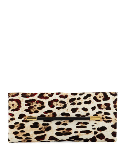 Ava Ghepardo Leopard-Print Calf Hair Pochette Clutch Bag